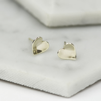 Handmade Sterling Silver Concave Heart Studs