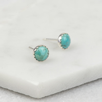 Handmade Sterling Silver Turquoise Stud Earrings