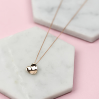 Handmade Solid 9 Carat Rose Gold Concave Heart Necklace