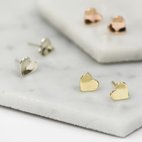 Handmade Solid 9 Carat Gold Concave Heart Stud Earrings