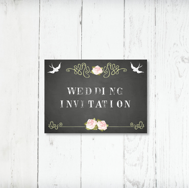 100 x Wedding Day Invitations 'Chalkboard' Collection Wedding Stationery