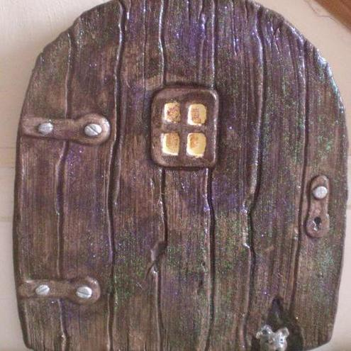 Mystical large glittery fairy door with poem ca folksy for Fairy door with key