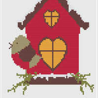 Christmas Bird House Cross Stitch Chart PDF