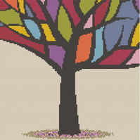 Stained Glass Tree Cross Stitch Chart PDF