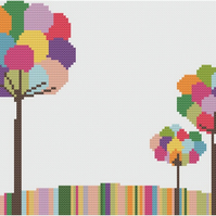 Bubble Trees Cross Stitch Chart PDF