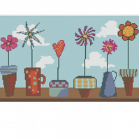 Flower Pots Cross Stitch Chart