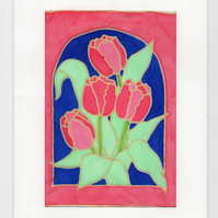 Tulips Silk Painting Greeting Card