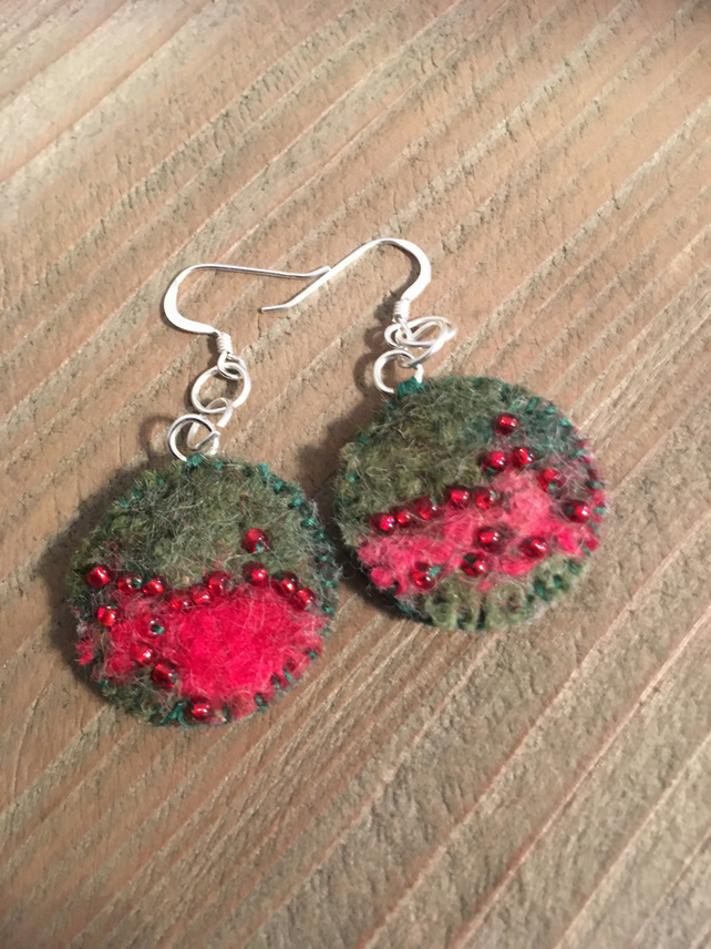 Pretty Boho Handmade Felt Earrings