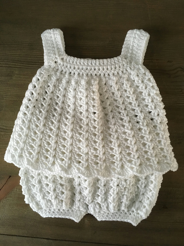 Cute Crocheted Baby Dress and Bloomers