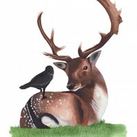 Stag & Crow Print