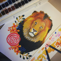 Lion With Floral Border Original Painting