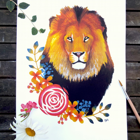 Lion with Floral Border Print