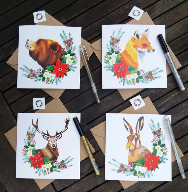 Christmas greetings cards set