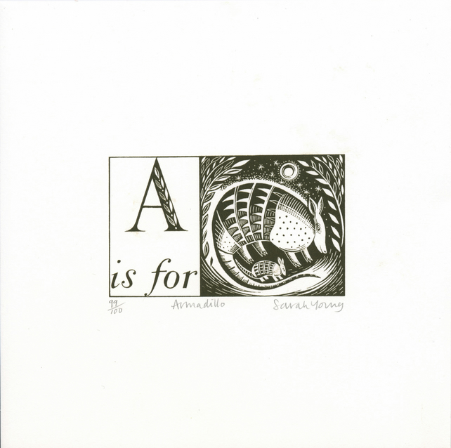 A is for Armadillo-  Alphabet Silkscreen Print
