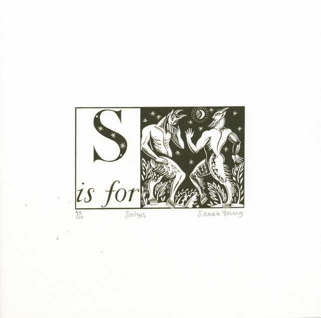 S is for Satyrs - Alphabet Silkscreen Print