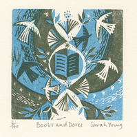 Books and Doves - Woodcut Print