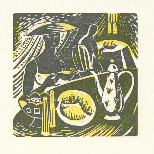 Lemon Tea - Woodcut Print