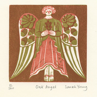 Oak Angel - Woodcut Print