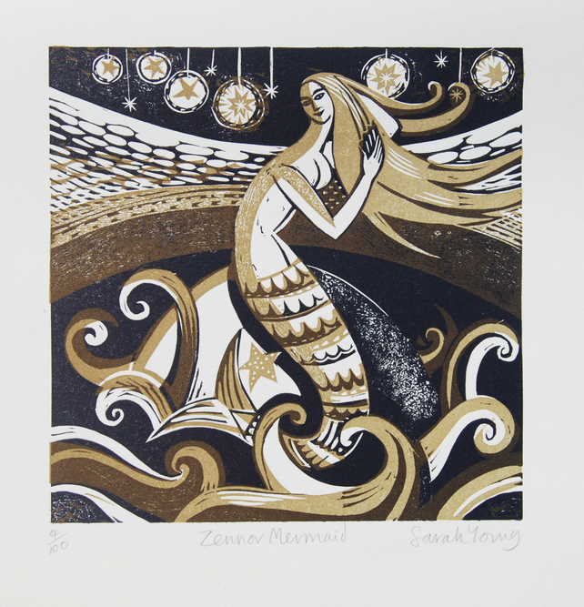 Zennor Mermaid - Lino Print