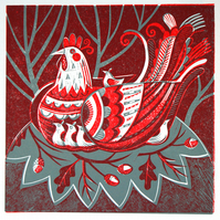 Hen and Chicks- Lino Print