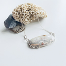 Crazy Lace Agate and silver necklace with silver granulation detail.