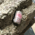 Small pink Rhodochrosite and silver brooch