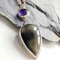 Amethyst and Obsidian gemstone and silver pendant.