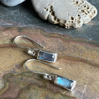 Hand made small rectangular Labradorite and silver drop earrings
