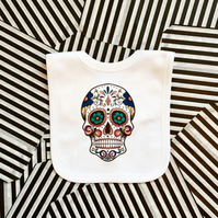 Sugar Skull Pop-Over Baby Bib, White Cotton Dribble Bib Cool Unisex Baby Clothes