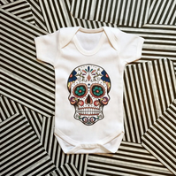 Candy Skull Babygrow, Cool Baby Clothes, 100%Cotton Baby Bodysuit Various Sizes