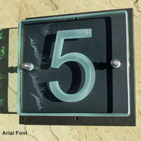 Engraved Glass & Slate House Numbers.    1 Digit.     Made to Order.