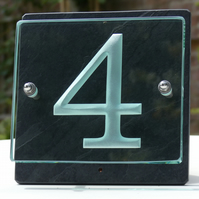 One Digit Engraved Glass & Slate House Number Sign. Size 20cm x 20cm