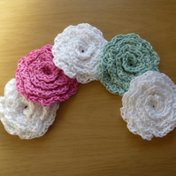 Set of five hand made flower design facial scrubbies.