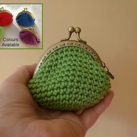 Crochet Coin Purse With new design Kisslock frame. Four jewel colour choices.