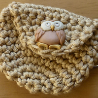 Hand made crochet coin purse with hook and loop fastening and fixed button trim