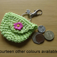 Hand made crochet coin purse with button fastening. Choose from fifteen colours.