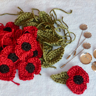 Crochet Remembrance Poppy Brooch