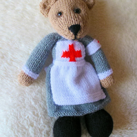 Knitted Bear in WW1 Nurses Uniform