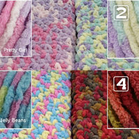 Handmade crochet chunky baby blanket in a choice of four colours