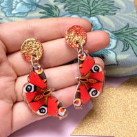 Peacock Butterfly Dangle Earrings