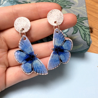 Adonis Blue Butterfly Dangle Earrings