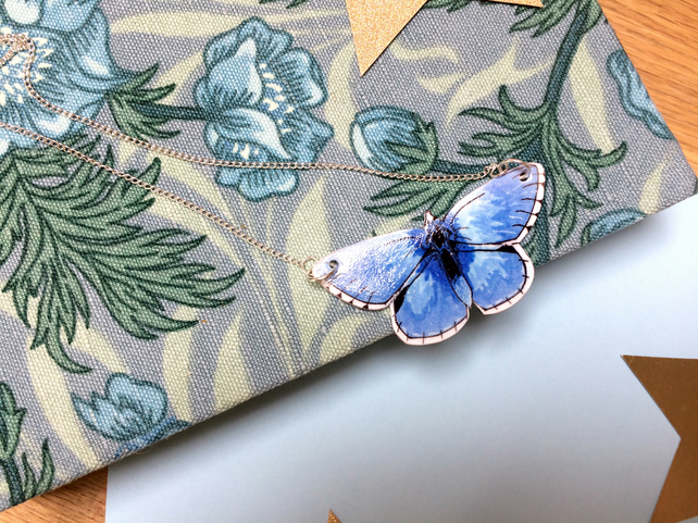 Adonis Blue Butterfly Necklace
