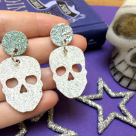 White Glitter Skull Dangle Earrings