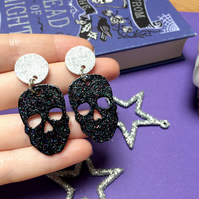 Black Glitter Skull Dangle Earrings