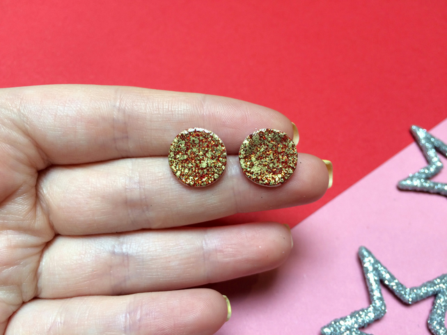 Red Glitter Stud Earrings