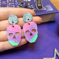 Rainbow Skull Dangle Earrings