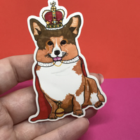 Royal Corgi Glossy Vinyl Sticker