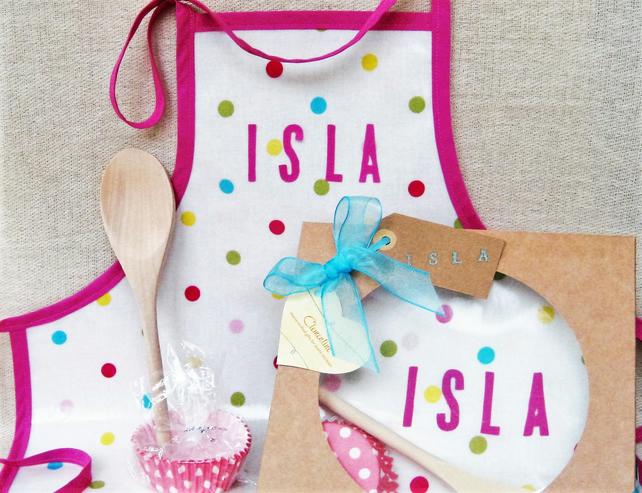 Personalised Children's Apron Gift Set - Girls