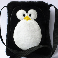 Girl's Furry Penguin Bag