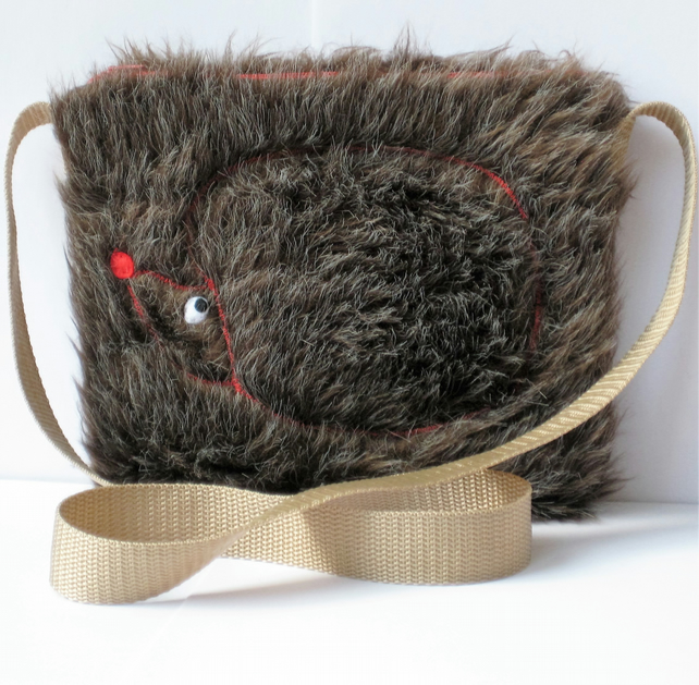 Girl's Furry Hedgehog Bag